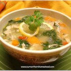Lemon Turkey Soup - Put your leftover Thanksgiving turkey to good use with this quick and delicious lemon turkey soup with spinach and sea salt.