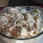 Curried Chicken Salad -  Great sauce  - curry, mayonnaise, a bit of onion, lemon juice and Worcestershire. Does wonders for the chicken, bacon, celery and grapes. Chill for a bit so the curry will do its stuff. Serves eight.