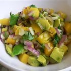 Avocado Mango Salsa - Yowzers!  Sweet and hot salsa with tangy mangoes and habaneros. Great with pork, chicken or fish or just with chips.  You can omit the habaneros and add red bell peppers for a non-spicy version, but then again, why would you want to? Remember, ALWAYS wear gloves when working with habaneros!