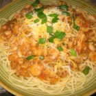 Cajun Spaghetti - This is a Cajun spicy sauce with shrimp that tastes great over a plate of spaghetti. Add as much or as little heat as you can stand!