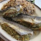 Oven Roasted Trout with Lemon Dill Stuffing - Nothing beats fresh fish, especially when it is filled with a fresh dill and lemon bread stuffing.  The fresh flavors of this dish will leave your mouth begging for more.
