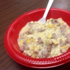 My Sausage Chowder - Sausage and corn are the base for this cheesy chowder. Tasty and filling on those cool October days. My children love this and it is so easy to make.  I can have this on the table in less than 30 minutes.