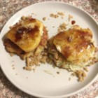 Potato Latkes with Caramelized Pears, Goat Cheese, and Sherry Vinegar Drizzle - Enjoy these traditional potato latkes topped with caramelized pears, goat cheese, and a drizzle of sherry vinegar.