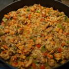 Crawfish Dressing - Crawfish tails and Creole seasoning are exciting additions to this rice, beef, and vegetable dressing.