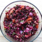 Herbed Pomegranate Salsa - Pomegranate seeds and their tart, juicy membrane are a colorful and flavorful addition to a blend of peppers and herbs!