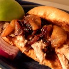 Apple Cider Pulled Pork with Caramelized Onion and Apples - Slow cooked pork tenderloin makes a perfect fall sandwich when topped with a sweet, tangy apple and onion combo.