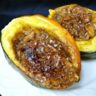 Nana's Holiday Acorn Squash - Acorn squash are filled with a mixture of crushed saltine crackers, butter, cinnamon, and brown sugar in this tasty fall side dish suitable for holiday meals.