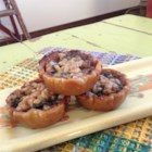 Toffee Cherry Butter Tarts - Dried cherries replace raisins, and melted toffee bits add a chewy topping in this delicious twist on traditional Canadian butter tarts.