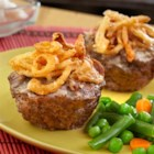 Mini Meatloaves with French Fried Onions - You won't be able to resist these mini meatloaves baked in muffin-pan cups. Ground beef, cream of mushroom soup, French fried onions and Worcestershire combine for a super-flavorful meatloaf mixture. They're kid-friendly, easy to prepare and guaranteed to become a family favorite.