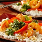 Hot and Sour Shrimp and Broccoli - This one-skillet dish is simple to prepare but chock full of flavor. Shrimp, broccoli and red pepper are simmered in a savory broth and served over a bed of rice. Skip the take-out--this is so much better!