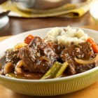 Red Wine Braised Short Ribs with Rosemary - Beef short ribs are slowly braised in beef stock and red wine for a rich, warming main dish.