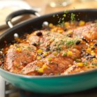 Santa Fe Chicken Saute - This scrumptious one-skillet dish is bursting with fabulous flavor. Sauteed chicken breasts are simmered in a kicked-up picante sauce featuring black beans and corn . . . this one's a keeper.