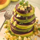 Roasted Beet, Avocado and Granny Smith Apples Tower - Slices of roasted beets, avocado, and tart apples are topped with crumbled goat cheese, parsley and pine nuts and drizzled with olive oil.