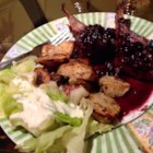 Rack of Lamb with Blueberry Sauce - The blueberry-wine sauce adds moisture to the lamb and makes a delicious serving sauce when reduced with balsamic vinegar and butter.