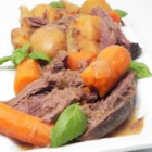 All Day Venison Pot Roast - A venison pot roast is slow-cooked with a creamy mushroom gravy until melt-in-your-mouth tender.