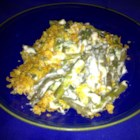 Swiss Cheese Green Bean Casserole - The traditional green bean casserole gets a different twist with fresh green beans in a sour cream-based sauce topped with Swiss cheese and buttery corn flakes. Serve during the holidays or special occasions!