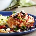 Pan-Seared Mediterranean Chicken - You'll get all the flavors of the Mediterranean in this dish featuring pan-seared chicken breasts in a sauce made with sun-dried tomatoes, chicken stock, garlic and lemon. Topped with olives, capers, fresh basil and feta, the result is a restaurant-quality meal that's ready in less than an hour!