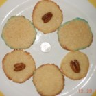 Sugared Danish Butter Cookies with Pecan Halves - One batch of butter cookie dough makes 2 kinds of tender, elegant cookies, one decorated with coarse sugar crystals and the other with pecans. Dough is refrigerated overnight, and can be frozen for decorating and baking later.