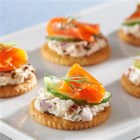 "RITZ ""Everything"" Bites with Lox and Schmear - All of the flavors of a New York City lox and schmear bagel--cream cheese, capers, cucumber and lox--in a single, delicious bite."