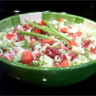 BLT Pasta Salad - This is an easy but flavorful pasta salad that I'm always asked to bring to potlucks. With chunks of onion, tomato, and bacon, smothered in Ranch dressing, it is full of flavor! This salad tastes best if made several hours ahead of time.
