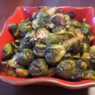 Roasted Brussels Sprouts with Agave and Spicy Mustard - A sweet-and-spicy mustard sauce coats roasted Brussels sprouts in this simple side dish recipe.