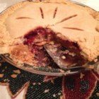 Cranberry Pie II - Cranberries, flavored with orange zest, cinnamon and nutmeg are baked in a single pie crust with an eggy filling.