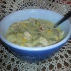 Papa Dar's Green Chile and Chicken Corn Chowder - Green chile and chicken corn chowder is the right amount of spicy and the right amount of comfort food for a cold weeknight dinner.