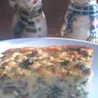 Spinach and Mushroom Egg Casserole - Spinach and mushrooms are the highlight of this cheese and egg breakfast casserole.