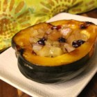 Baked Acorn Squash with Apple Stuffing - Acorn squash stuffed with apples, celery, and onion is a perfect addition to Thanksgiving dinner or pork dishes in the fall.