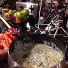 Creamy Veggie Fondue - This is my spin on a popular creamy cheese fondue. Have fun with it and incorporate the cheeses and veggies you like. Serve with veggies and bread sticks.
