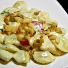 Gorgonzola Cream Sauce - Tiny stuffed ravioli are served in a sauce made of thickened cream flavored with tangy Gorgonzola cheese and Parmesan for a quick gourmet dish.