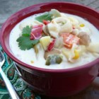Tortellini Chowder - Jalapeno, green chiles and cumin add zip to this potato, tortellini cream soup.