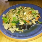 Asian Chicken Pasta Salad - Wonderful stir-fried veggie, chicken pasta salad that's great served warm or cold.
