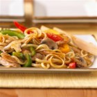 Stir-Fry Chicken Lo Mein - Stir-fried mushrooms and veggies are quickly simmered with cooked chicken breast strips and stir-fry sauce then served over hot cooked linguine.