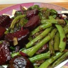 Beet Greens and Green Beans with Tomato and Onion - Cider vinegar adds a zing to this simple vegetable side dish with green beans, beet greens, tomato, and onion.