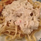 Crab Alfredo - Simply put, delicious!  A little on the decadent side, but it can be made with fat-free half-and-half and a heart-healthy spread instead of butter. Serve with garlic bread sticks, a nice salad, and a glass of Chardonnay.