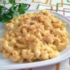 Cafeteria Macaroni and Cheese - A creamy casserole of macaroni and Cheddar cheese gets a wake-up call from mustard, Worcestershire sauce and a dash of hot sauce. Cheese, buttery bread crumbs and paprika are sprinkled over the top.