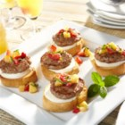 Sweet and Savory Bruschetta - Enjoy a delicious, new way to serve up the first meal of the day! Juicy strawberries and Johnsonville Breakfast Sausage Patties combine with the fresh flavors of mint and basil to deliver bite-size pieces of perfection.