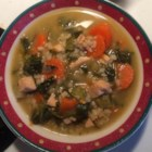 Chicken and Vegetable Soup - Plenty of vegetables, chicken, and barley in this big pot of soup.
