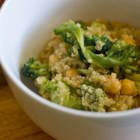 Garlicky Quinoa and Garbanzo Bean Salad - Tarragon and freshly squeezed lemon juice flavor this delicious warm salad.