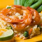 Citrus Apple Butter Glaze for Shrimp - Apple butter, concentrated orange juice and lime juice make natural flavor pairings for these quick and easy baked shrimp.