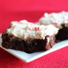 Kahlua Peppermint Brownies - Rich, dark brownies made with Kahlua are finished with a Kahlua butter frosting and a sprinkle of crushed peppermint candy for a chocolate-y holiday treat.