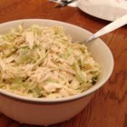 Papajoe's Coleslaw for BBQ Samiches (Sandwiches for Normal Folk) - This unique, sweet, creamy, and tangy coleslaw will complement any barbecue.