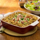 Johnsonville(R) Smoked Sausage Casserole - Chunks of browned smoked sausage and green beans in a creamy sauce between layers of seasoned stuffing bakes up in 30 minutes for a hearty weeknight dinner.