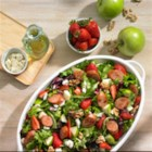 Johnsonville Strawberry and Apple Chicken Sausage Salad - Give your taste buds a sweet ride with this light, refreshing salad. Delicious strawberries, tart apples, feta cheese, walnuts and Johnsonville's Apple Chicken Sausage create a sweet and savory combo--a delicious and healthy way to enjoy your favorite sausages.