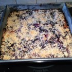 Yummy Blueberry Breakfast Cake - Yummy blueberry coffeecake is layered with blueberry pie filling, fresh blueberries, and a crumb topping for a colorful and rich breakfast treat.