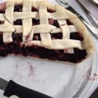 Mulberry Rhubarb Pie - If you can't find mulberries, you may use blackberries or raspberries instead. Simply mix rhubarb, berries, sugar, and flour together, and then spoon the mixture into an unbaked crust, dot it with butter, add the top crust.