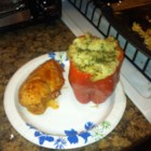 Stuffed Red Peppers - Stuff bell peppers with a mixture of rice, beef, mushrooms, onions, garlic, and tomatoes.