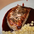Pork Chops with Raspberry Sauce - Succulent herbed boneless pork loin chops paired with a tangy raspberry sauce ... heaven on a plate! This is a special family dish or perfect for company. I accompanied it with mashed potatoes and julienned steamed carrots. My husband can't wait to have it again.