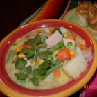 Vegetable and Corn Chowder - This hearty corn chowder has bacon, ham, and plenty of mixed vegetables.